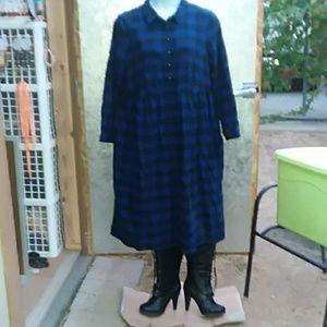 Woman Within L/S plaid dress 1X (22/24)